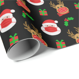 Santa Reindeer Face Mask Black Christmas Wrapping Paper