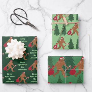 Santa Squatch Cute Assortment Funny Christmas Wrapping Paper Sheets