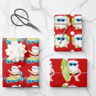 Santa surfing cool shades on red Christmas gift  Wrapping Paper Sheets