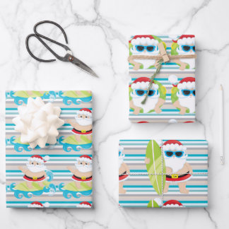Santa surfing dude cool shades Christmas stripes  Wrapping Paper Sheets