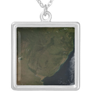 Satellite view of South America Silver Plated Necklace