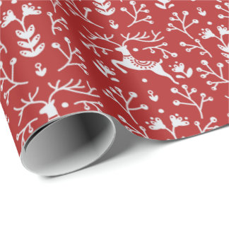 Scandinavian Red White Reindeer Floral Christmas Wrapping Paper
