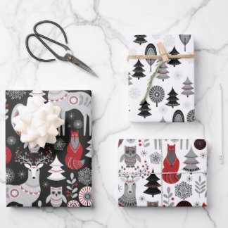 Scandinavian Woodland Animals Christmas Holiday Wrapping Paper Sheets