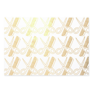 Scissors Comb Golden Patterns Christmas White Cute Foil Wrapping Paper Sheets
