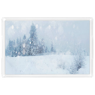 Shades of Blue Snow Forest Winter Trees Acrylic Tray