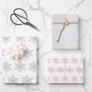 Silver Snowflakes & White Snow Winter Wrapping Paper Sheets