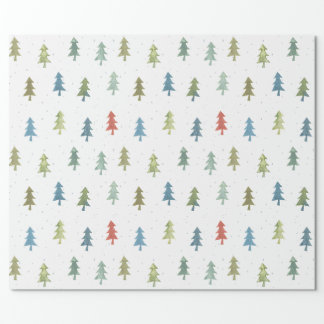 Simple Christmas Tree Colorful Watercolor Pattern Wrapping Paper