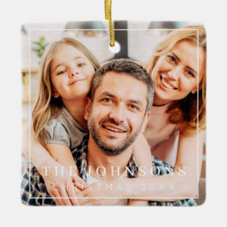 Simple Frame Modern Chic Family Photo Holiday Ceramic Ornament