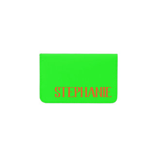 Simple & Modern Lime Green & Orange - Personalized Card Holder