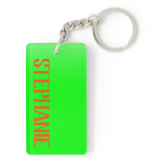 Simple & Modern Lime Green & Orange - Personalized Keychain