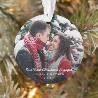 Simple Modern Photo Our First Christmas Engaged Ornament