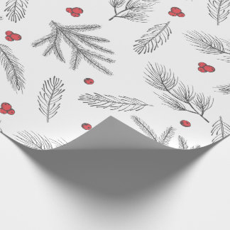 Simple Modern Red, Black & White Christmas Wrapping Paper