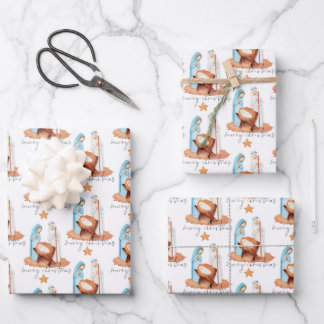 Simple Nativity Pattern Script Merry Christmas Wrapping Paper Sheets