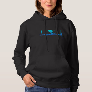 Skiing Heartbeat Line Funny Gift Dad mom Hoodie
