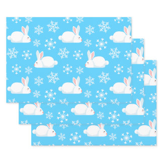 Snowflakes Pattern Cute Bunny Merry Christmas Gift Wrapping Paper Sheets