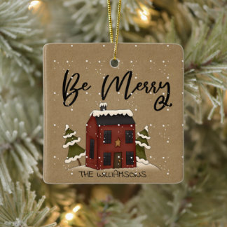 Snowy Saltbox House Primitive Country Add Name Ceramic Ornament