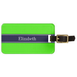 Solid Lime Green, Navy Blue Ribbon Name Monogram Luggage Tag
