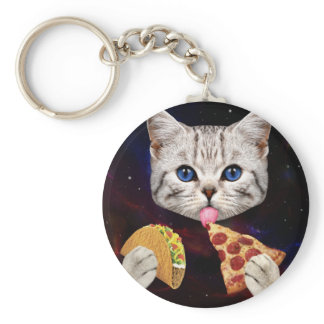Space Cat with taco and pizza Keychain