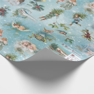 Sparkly Magical Winter Vintage Christmas Collage Wrapping Paper