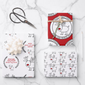Special Delivery from Santa Set of 3 Christmas Wrapping Paper Sheets