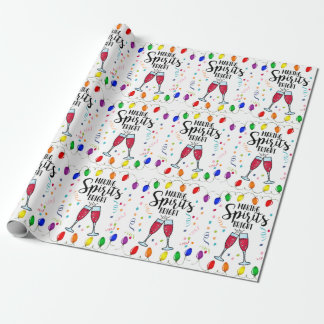 Spirits Bright Drinking Humor Christmas Confetti Wrapping Paper