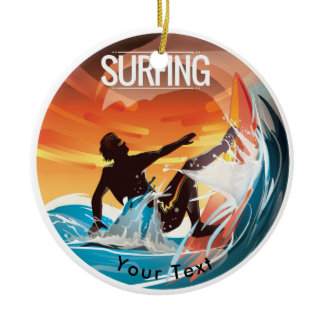 SPORTS Surf's Up in Colorful Waves Ceramic Ornament