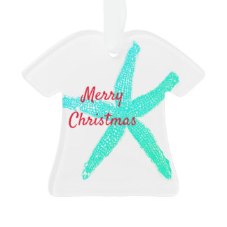 Starfish Pattern Green Blue Red Merry Christmas Ornament