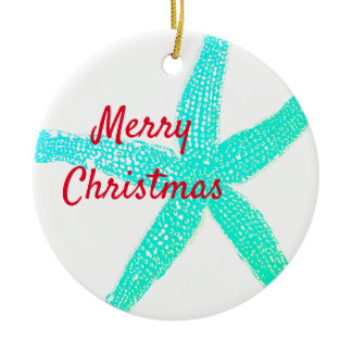 Starfish Patterns Green Blue Red Merry Christmas Ceramic Ornament