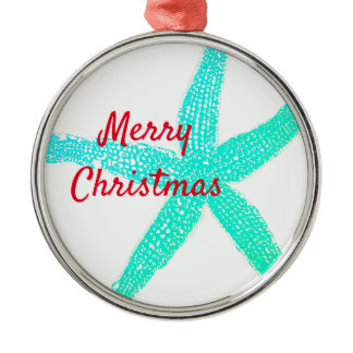 Starfish Patterns Green Blue Red Merry Christmas Metal Ornament