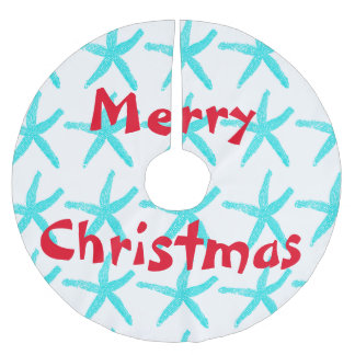 Starfish Patterns Teal Red Beach Merry Christmas Brushed Polyester Tree Skirt