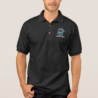 Still Playing With Airplanes Pilot Gift Aviator Polo Shirt