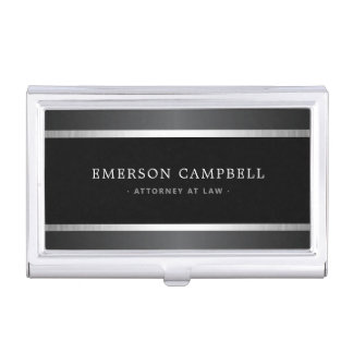 Stylish satin gray and silver borders black business card case