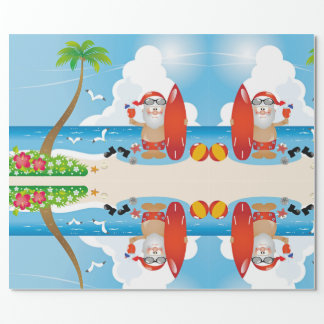 surfer santa claus wrapping paper