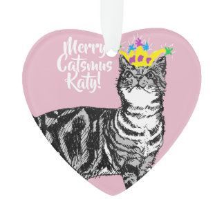 Tabby Cat Merry Catsmus Pink Christmas Decoration