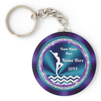 Teal and Purple Personalized Gymnastic Gift Ideas Keychain