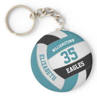 teal black personalized team name volleyball keychain