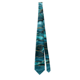 Teal Blue and Gold Glitter Agate Neck Tie
