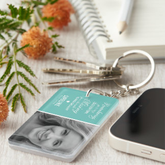 Teal Family Memorial Photo Remembrance Keepsake Keychain