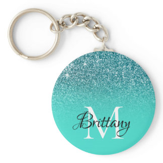 Teal Turquoise Glitter Ombre Monogram Keychain