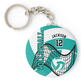 Teal, White and Black Volleyball Design Keychain