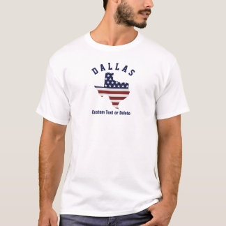 Texas Map | Patriotic USA Flag | Your City or Text T-Shirt