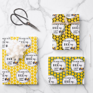 thank you for bee-ing a great teacher gift wrapping paper sheets