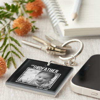 The Godfather   Personalized 2x Photo and Names Keychain