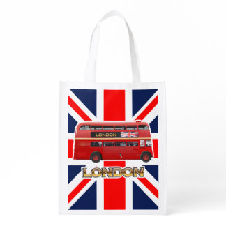 The Red London Double Decker Bus Grocery Bag