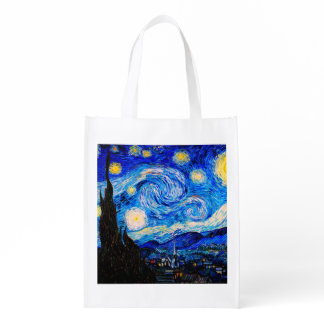 The Starry Night by Vincent Van Gogh Grocery Bag