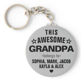 This Awesome Grandpa Belongs To Father's Day Gray Keychain