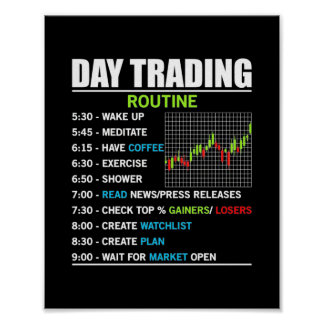 Trader Gift | Day Trading Routine Poster