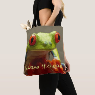 Tree Frog Personalized Name Tote Bag