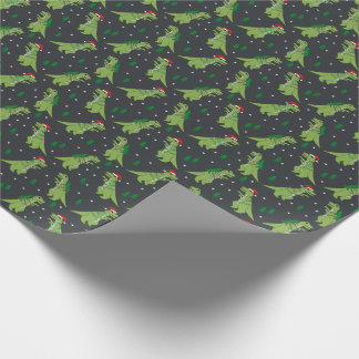 Tree Rex Novelty Dinosaur Christmas charcoal Wrapping Paper
