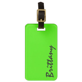 Trendy Bright Neon Lime Green and Black Monogram Luggage Tag